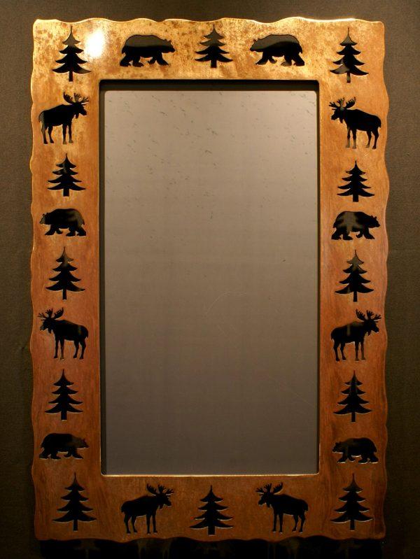 Bear Moose Tree Cut Out Mirror