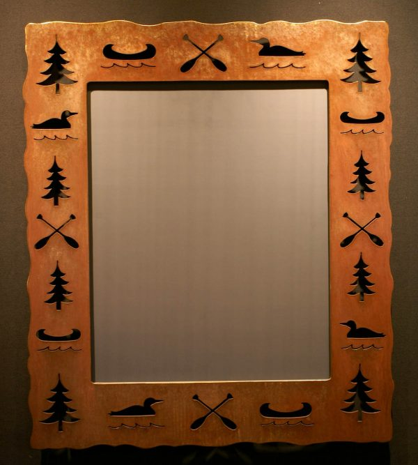 Canoe Paddle Loon Tree Cut Out Mirror
