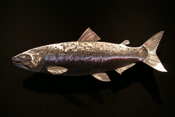 """Salmon Sculpted 34"""" Fish Silver"""