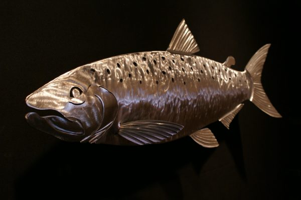 "Salmon Sculpted 34"" Fish Silver"