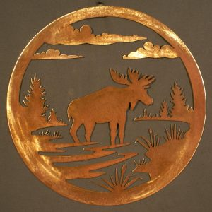 "Moose 24"" Round Wall Plaque"