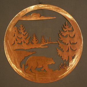 "Bear 24"" Round Wall Plaque-0"