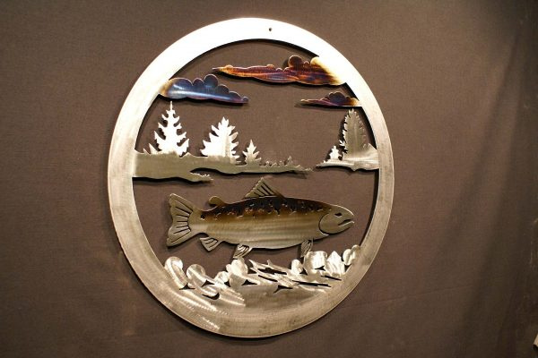 """Trout 24"""" Round Wall Plaque-289"""