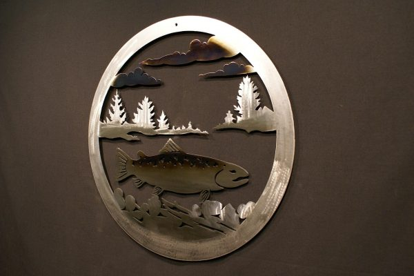 """Trout 24"""" Round Wall Plaque-292"""
