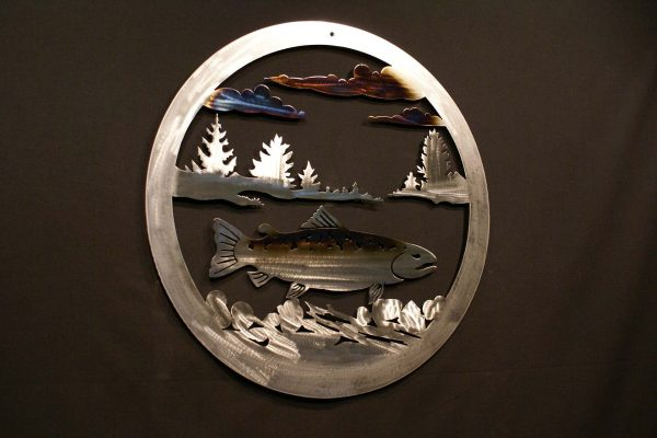 """Trout 24"""" Round Wall Plaque-291"""